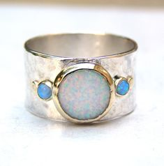 Handmade Engagement Ring - Fine 14k gold ring silver ring White opal, blue opal Gemstone Similar diamond ring MADE TO ORDER door OritNaar op Etsy https://www.etsy.com/nl/listing/180834563/handmade-engagement-ring-fine-14k-gold