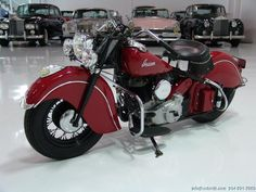 Finished in classic Indian Red, this extremely rare Indian Chief has been subject to a recent restoration which included a complete engine rebuild, new clutch and more! It is now ready to ride and enjoy! Indian Motorbike, Vintage Indian Motorcycles, Vintage Bikes, Hd Motorcycles, Harley Davidson Motorcycles, Classic Bikes, Classic Cars, Harley Davidson Engines, Rockabilly Cars