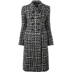 Dolce & Gabbana tweed midi coat (£1,450) ❤ liked on Polyvore featuring outerwear, coats, black, calf length coat, long sleeve coat, tweed coats, double-breasted coat and tweed wool coat
