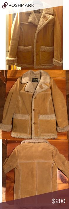 Marlboro Man Vintage Shearling Suede Coat This coat was purchased in the 1970's from Sears, Roebuck and Co. It is very heavy and extremely warm. It needs to be professionally cleaned, but other than that, it is in good shape. This coat is very well made. They just don't make them like they used to!  Smoke free home The Leather Shop Jackets & Coats