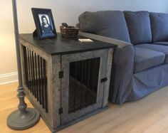 Fantastic Photos Medium Rustic Handcrafted Dog Crate Kennel Strategies The usage of a dog kennel happens to be a major place of competition in the dog's perspective and Crate Furniture Diy, Crate End Tables, Crate Furniture, Crate Table, Dog Crate Furniture, Wood Dog Crate
