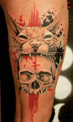 Skull Cat Tattoo