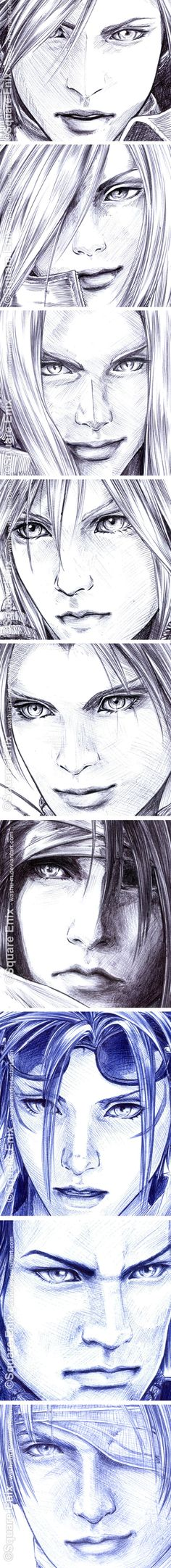 FFVII - Faces Details in Pen by Washu-M on DeviantArt