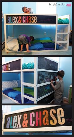 Kura bunk bed with chalkboard paint.
