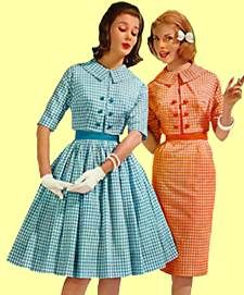 The first half of the Sixties resembled the Fifties. Conservative, ladylike, proper. No short skirts. Gloves for evening and social occasions. Petticoats and girdles.    The dresses at left and below with their swing, pleated or pencil skirts could easily have been worn in the 1950s.    Women wore dresses or skirts for all but the most casual activity. Pants were for sport or play and never worn to school.