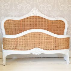 Paint the white outline black! ---Emily White Framed Rattan Bed by The French Bedroom Company Bedroom Sets, Bedroom Decor, Bedrooms, Dream Bedroom, Rattan, Wicker, French Bed, Deck Furniture, Upholstered Beds