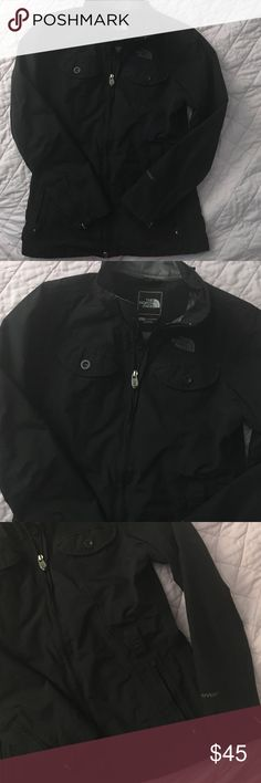 North Face Black Rain Jacket The North Face black rain jacket in size xsmall. Very good condition except for it's missing the zip out hood and the belt, but not essential to the jacket. Very flattering and cute! Not bulky, slim fitting. Open to offers! The North Face Jackets & Coats