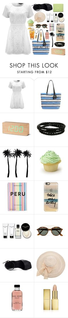 """""""Sun Is Up"""" by yufrenny ❤ liked on Polyvore featuring French Connection, Loeffler Randall, Porsche Design, Dot & Bo, MAC Cosmetics, PHAIDON, Casetify, Bobbi Brown Cosmetics, Ray-Ban and AERIN"""