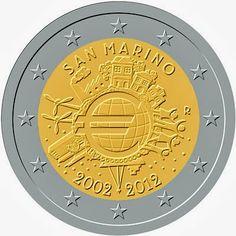 2 Euro San Marino 2012, 10th Anniversary of Euro coins and banknotes