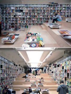 Plural Bookshop in Bratislava, Slovacia Beautiful Library, Wall Bookshelves, Book Shelves, Library Design, Bookstore Design, Library Books, I Love Books, Retail Design, Book Lovers