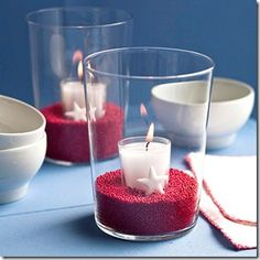easy patriotic tealight holders with a beachy twist