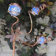 Dragonfly Plant Stake Copper Garden Art Metal Glass Yard Decor Handmade Blue