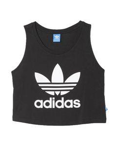 Crop top noir Adidas sans manche pour faire du sport