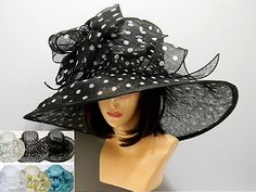 Swirl Bow Light Summer Fashion Kentucky Derby Hat Church Fancy Elegant Wide Brim