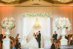 Pink and Silver Wedding, Ceremony Chandelier | Floral Chuppah  | Concept Photography | Lee James Floral Designs