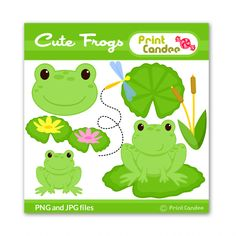 Cute Frogs - BUY 2 GET 1 FREE - Digital Clip Art - Personal and Commercial Use - frog lily pad dragonfly pond cute animals nursery pattern. $3.50, via Etsy.