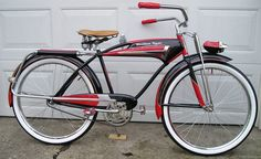 1955 Western Flyer Super Deluxe - The Western Flyer Super was the top of the line bicycle sold through the Western Auto store chain which does not exist today. This bicycle was built Old Bicycle, Cruiser Bicycle, Motorized Bicycle, Old Bikes, Cool Bicycles, Vintage Bicycles, Tricycle, Bici Retro, Commuter Bike