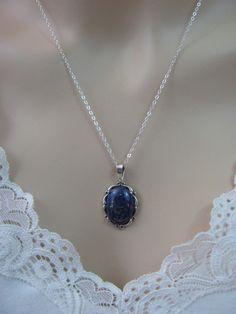 Lapis Lazuli Necklace in Sterling Silver,18x13 Afghanistan Lapis, Lapis Lazuli Jewelry,Lapis Pendant, Lapis Gemstone,Bride Gift,Wedding Gift by LindasJewelryShop on Etsy https://www.etsy.com/listing/210992937/lapis-lazuli-necklace-in-sterling