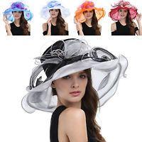 319f76b2b0d New Women s Kentucky Derby Church Wedding Noble Dress hat organza feather  hat