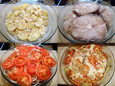1,5 kg de cação em postas  - 500 g de batata cozida e cortadas em rodelas  - 1 pacote de creme de cebola  - 3 tomates cortados em rodelas  - 3 pimentões cortados em rodelas  - 3 cebolas cortadas em rodelas  - Azeite  - 2 dentes de alho amassados  - Sal a gosto  - Suco de 1 limão  -