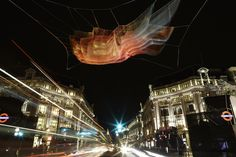 As part of a special four-day event, creative company Artichoke brings a series of complex outdoor works to the streets of London. Lumiere London features a roster of international artists that put their spin on local buildings, walkways and plazas. -- 1.8 London, Janet Echelman, Lumiere London 2016, produced by Artichoke, supported by the Mayor of London. Image © Matthew Andrews