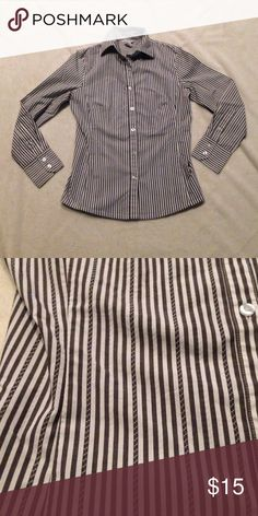 """CAbi Grey and white striped button down Nice tailored grey and white button down shirt by CAbi. Beautiful, feminine cut with princess seams to flatter the female figure and fit """"just right"""". CAbi Tops Button Down Shirts"""