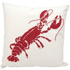 "Nourison Beaded Red Lobster 18"" Square Outdoor Pillow - Style # 1N416"