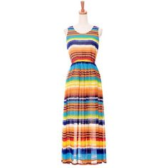 Color Block Round Collar Nipped Waist Striped Casual Bohemian Women's Dress $15.36