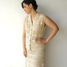 Vintage 1960s Cream Crochet Vest and Skirt Set by rakshniyavintage, $70.00
