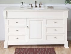 Cream White on white counters and cabinets make this 60 inch single sink bathroom vanity a striking addition to your wash room. Imagine the contrast of this bright piece against a dark wall or dÈcor with lots of red or blue. Six drawers and a center cabinet offer plenty of storage.