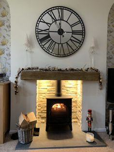 Recent installation of the Stovax Stockton 5 multi fuel stove with slate hearth, oyster tile chamber, lights and cast beam Wood Burner Fireplace, Slate Fireplace, Fireplace Hearth, Fireplace Remodel, Electric Stove Fireplace, Stone Fireplaces, Living Room Decor Grey Walls, Home Living Room, Log Burner Living Room