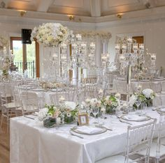 Ghost Chairs with white linen & glass candelabras Glass Candelabra, Ghost Chairs, Table Set Up, Chair Covers, Table Settings, Table Decorations, Furniture, Home Decor, Chair Sashes