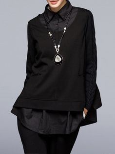 Shop Tunics - Black Knitted Nylon Long Sleeve Shirt Collar Tunic online. Discover unique designers fashion at StyleWe.com.