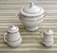 Vintage French Enamelware Red and White Enamel Tureen and Pitchers, 3 pcs