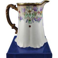 """Haviland Limoges Arts & Crafts Floral Motif Pitcher (Signed """"Isabelle C. Ayers""""/c.1894-1931)"""