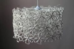 Lampshade made from paperthread with a rosee tool...instructons to make one rose can be found here http://www.taitohame.fi/doc/Mika_kumman_Rosee.pdf In Finnish