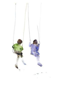 friends on the swings, little girls, large postcard or poster, watercolor op Etsy, € Watercolor Portraits, Watercolor And Ink, Watercolour Painting, Painting & Drawing, Watercolors, Simple Watercolor, Figure Drawing, Painting People, Urban Sketching