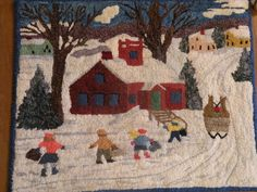 Members in the Spotlight - Woolwrights Rug Hooking Guild Beginner Quilt Patterns, Rug Hooking Patterns, Quilting For Beginners, Rug Patterns, Christmas Rugs, Christmas Ideas, Maud Lewis, Snow Scenes, Winter Scenes