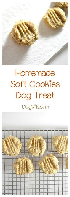 for easy dog food recipes? Use baby food to make this yummy soft cookie homemade hypoallergenic dog treat recipe!Looking for easy dog food recipes? Use baby food to make this yummy soft cookie homemade hypoallergenic dog treat recipe! Soft Dog Treats, Puppy Treats, Diy Dog Treats, Healthy Dog Treats, Homemade Dog Cookies, Homemade Dog Food, Cookies For Dogs, Snacks Homemade, Cookies Soft