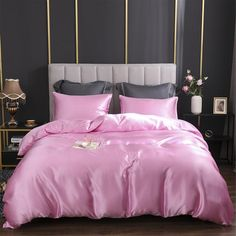 Pink Bedding Set, Silk Bedding, Bedding Sets, Pink Comforter, Bed Covers, Pillow Covers, Textured Duvet Cover, Pine Trim, Blue Shower Curtains
