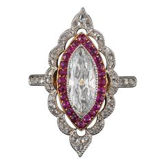 Edwardian Marquise Ruby Diamond Ring | From a unique collection of vintage bridal rings at https://www.1stdibs.com/jewelry/rings/bridal-rings/