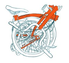 Brompton bicycle screen print by Diana Powell