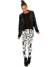 Katela Bat Print Leggings-leggings-missguided