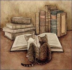 Two kittens reading (I don't know who the artist is)