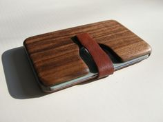 wood card holder in walnut
