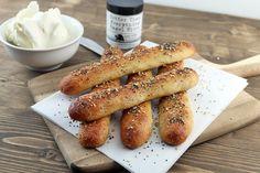 Everything Bagel Sticks: mozzarella, almond flour, cream cheese, egg, seasoning, baking powder, butter