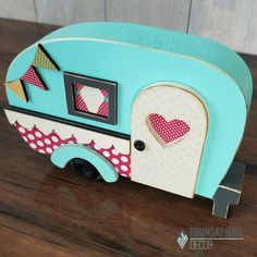 Glamper (camper) Made of 1 Pine, and and MDF Measures long x high Sanded and ready to decorate! Papers in photo by Simple Stories Fall Crafts, Crafts To Make, Arts And Crafts, Diy Crafts, Wooden Cutouts, Scrap, Pintura Country, Beginner Woodworking Projects, Camping Crafts