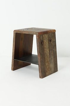 Travers Side Table #anthropologie - if we move the shelf up higher, and widen the base, it might work for Patrick's side.