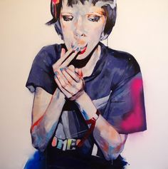 Adrien Patout  Not sure why but I love smoking woman art....