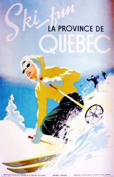 Ski Fun Canada Quebec Winter Ski Canadian Travel Advertisement Art Poster in Posters   eBay